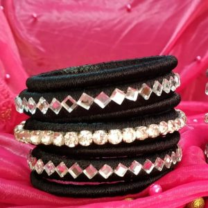 silk thread bangles black and silver
