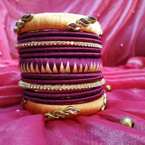 silk thread bangles set for single hand purple